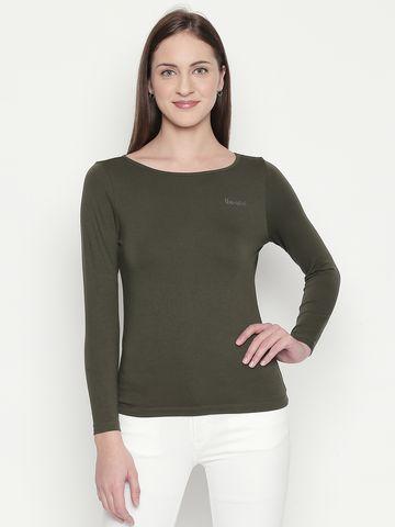 spykar | Spykar Olive Solid Slim Fit T-Shirts