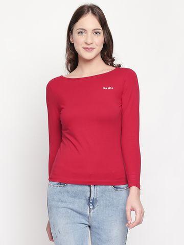 spykar   Spykar Red Solid Slim Fit T-Shirts