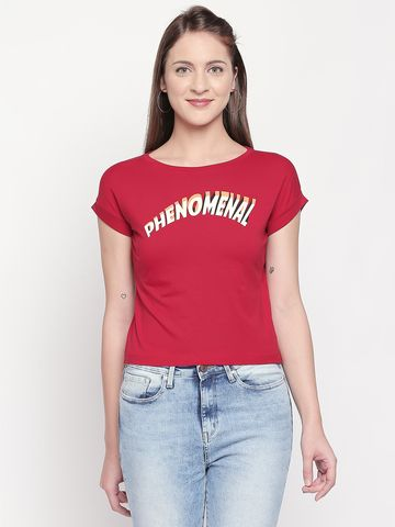 spykar | Spykar Red Solid Slim Fit T-Shirts