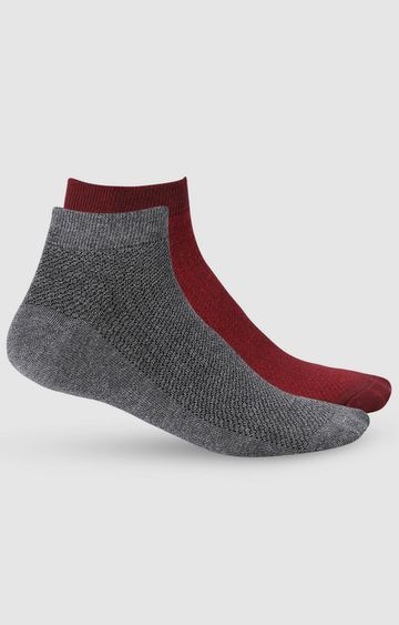spykar | SPYKAR Maroon & Anthra Melang Cotton Ankle Length socks (Pack of 2)