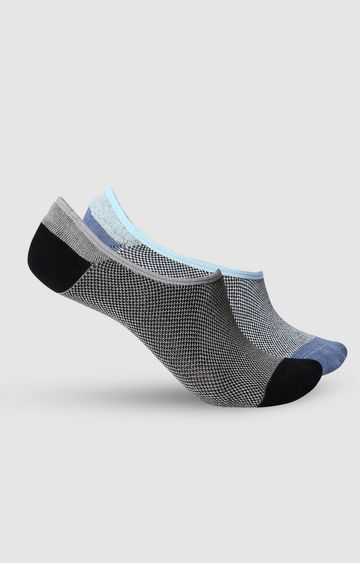 spykar | SPYKAR BLACK BLUE Cotton Ped Socks (Pack of 2)