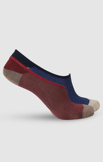spykar | SPYKAR Maroon_Navy Cotton Ped Socks (Pack of 2)