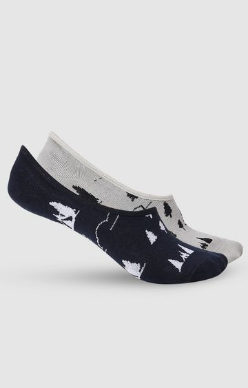 spykar | SPYKAR Grey Melange & Black Cotton Ped Socks (Pack of 2)