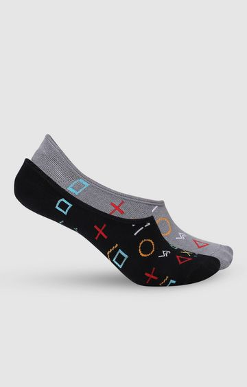 spykar | SPYKAR D.Grey Melange & Black Cotton Ped Socks (Pack of 2)