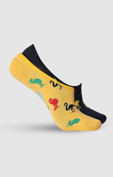 spykar | SPYKAR Black & Mustard Cotton Ped Socks (Pack of 2)