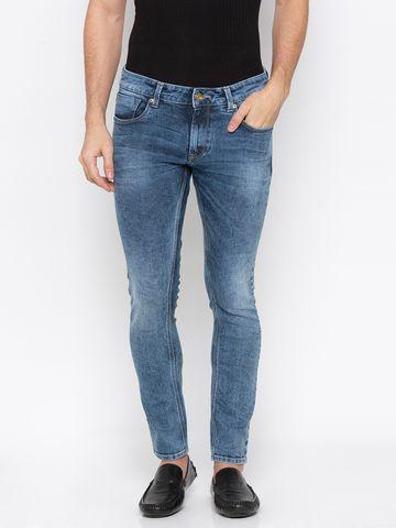 spykar | Spykar Mid Blue Solid Super Skinny Fit Jeans