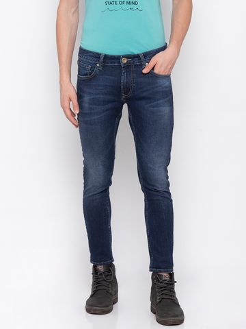 spykar | SPYKAR DK BLUE Cotton TAPERED FIT JEANS