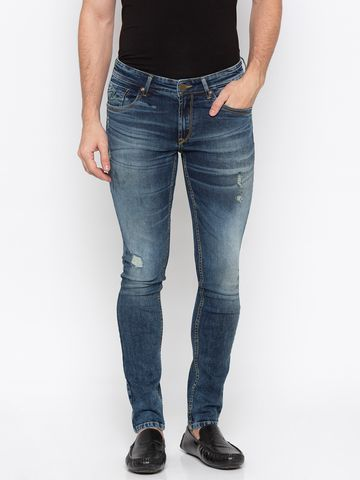 spykar | Spykar Mid Blue Ripped Super Skinny Fit Jeans