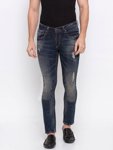 spykar | Spykar Blue Ripped Skinny Fit Jeans
