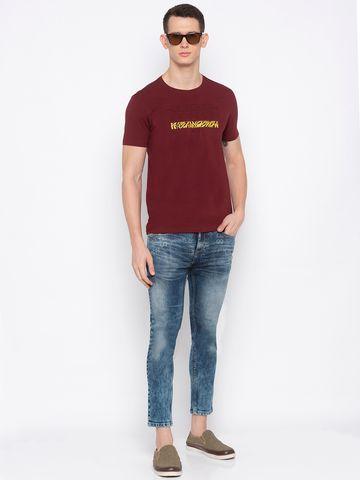 spykar | Spykar Maroon Printed T-Shirt