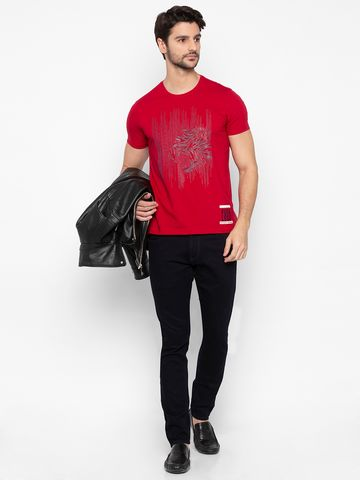 spykar | Spykar Deep Red Printed Slim Fit T-Shirts