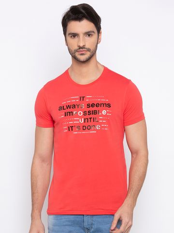 spykar | spykar Deep Coral Printed Slim Fit T-Shirt