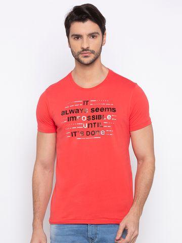 spykar | Spykar Deep Coral Printed Slim Fit T-Shirts