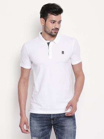 spykar | White Solid Polo T-shirt