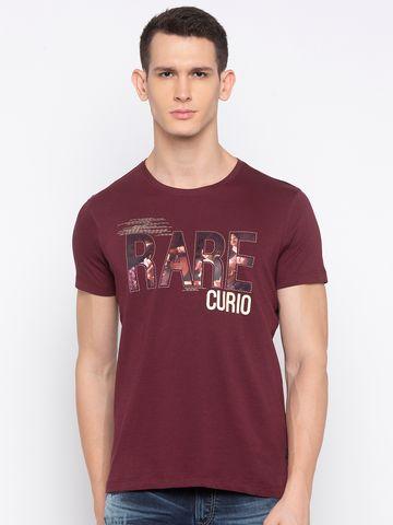 spykar | Spykar Wine Printed T-Shirt