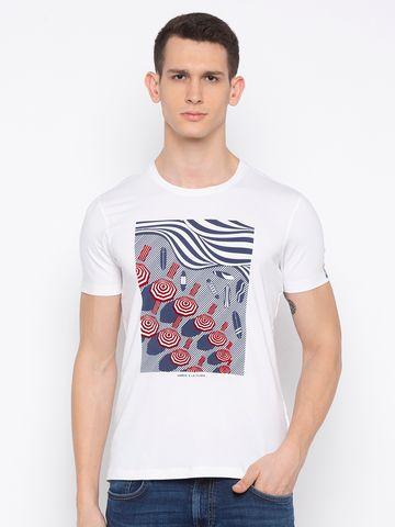 spykar | Spykar White Printed T-Shirt