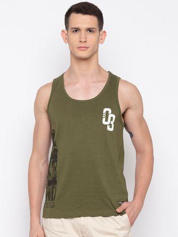 spykar | Spykar Olive Men Cotton sleeveless Tshirt
