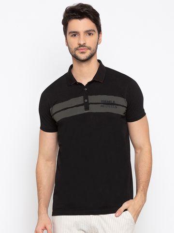 spykar | SPYKAR Black Blended Slim Fit T SHIRTS