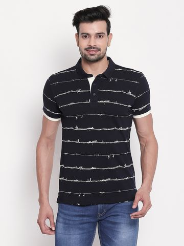 spykar | Navy Printed Polo T-shirt