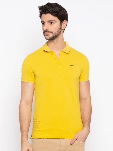 spykar | SPYKAR Yellow Blended Slim Fit T SHIRTS