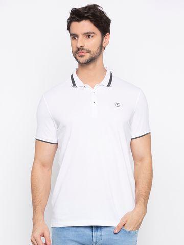 spykar   Spykar White Solid Polo T-Shirt