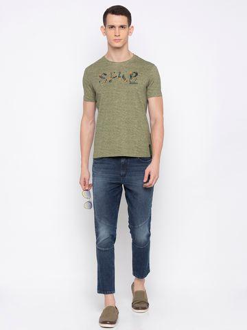spykar | spykar Olive Printed T-Shirt