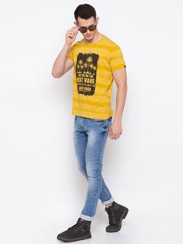 Spykar | spykar Mustard Cotton Slim Fit T-Shirt