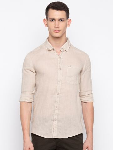 Spykar | spykar Beige Solid Casual Shirt