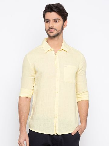 spykar | spykar Yellow Solid Slim Fit Casual Shirt