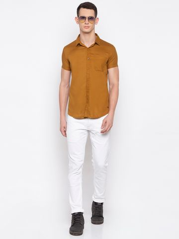 spykar | spykar Khaki Cotton Slim Fit Shirt