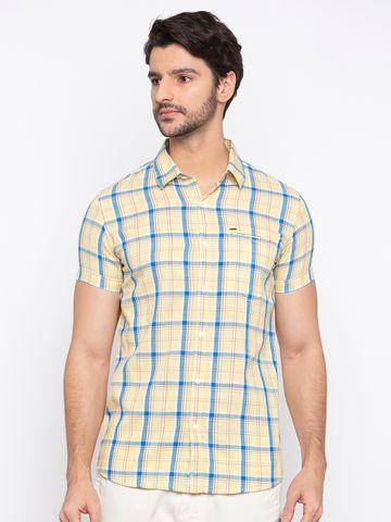 Spykar | spykar Lemon Yellow Cotton Slim Fit Shirt