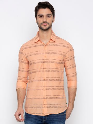 spykar | spykar Orange Striped Casual Shirt