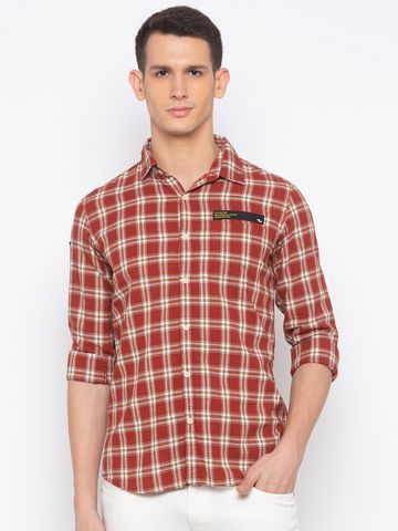 spykar | spykar Brick Red Cotton Slim Fit Shirt