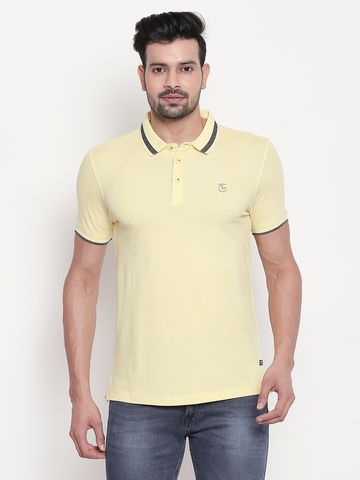 spykar | Pastel Yellow Solid Polo T-shirt