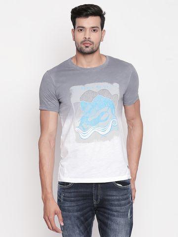 spykar | Spykar Grey Printed Slim Fit T-Shirt