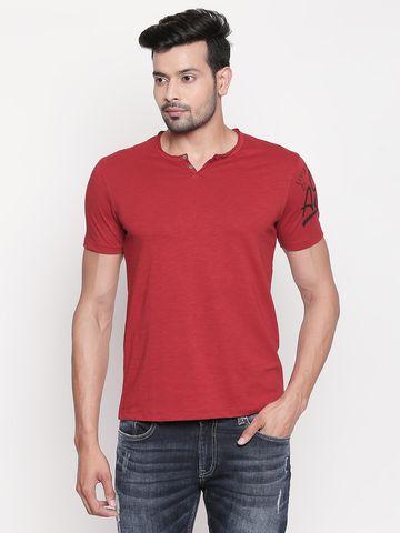spykar | Spykar Brick Red Melange Slim Fit T-Shirt