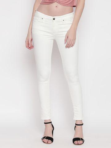 Spykar   Spykar White Solid Super Skinny Fit Jeans
