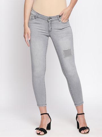 Spykar | Spykar Grey Ripped Super Skinny Fit Cropped Jeans
