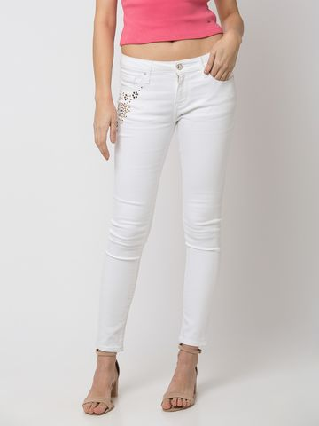 spykar | SPYKAR White Cotton SKINNY FIT JEANS