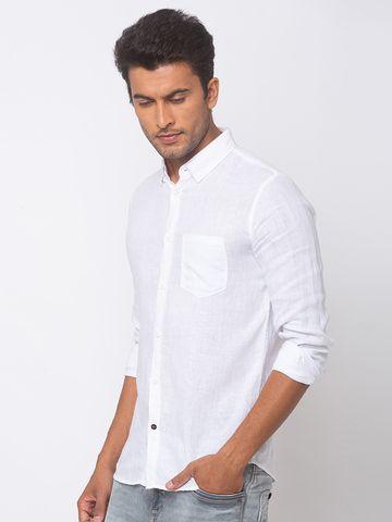 Spykar | spykar White Linen Slim Fit Shirt