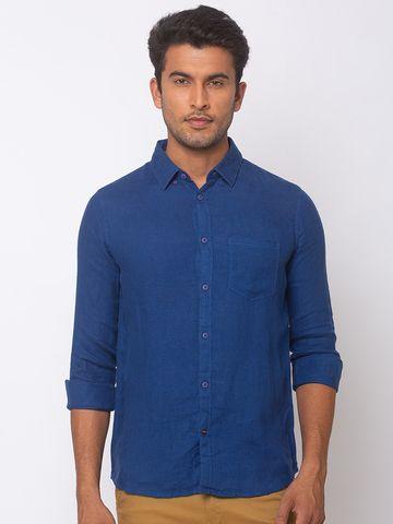 Spykar | spykar Navy Blue Linen Slim Fit Shirt