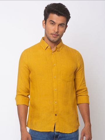 Spykar | spykar Mustard Yellow Linen Slim Fit Shirt