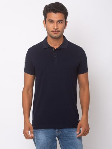 spykar | SPYKAR NAVY BLUE COTTON SLIM FIT T-SHIRTS