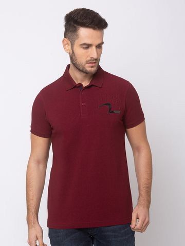 spykar | spykar Wine Cotton Slim Fit T-Shirt