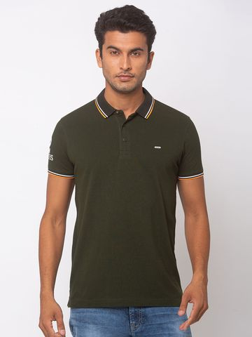 Spykar | spykar Rifle Green Cotton Slim Fit T-Shirt