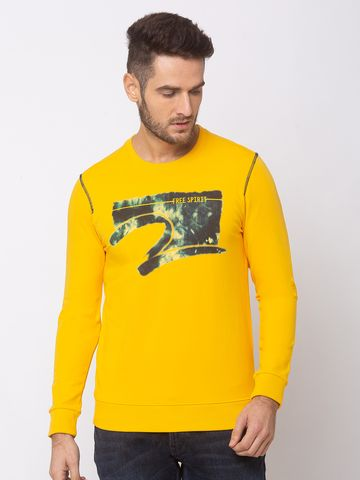 spykar | SPYKAR CHROME YELLOW COTTON SLIM FIT SWEAT SHIRT