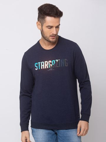 spykar | SPYKAR NAVY BLUE BLENDED SLIM FIT SWEAT SHIRT