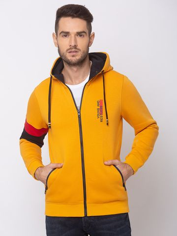 spykar | SPYKAR SULPHUR YELLOW BLENDED REGULAR FIT SWEAT SHIRT