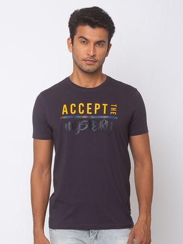 spykar | SPYKAR CHARCOAL GREY BLENDED SLIM FIT T SHIRTS