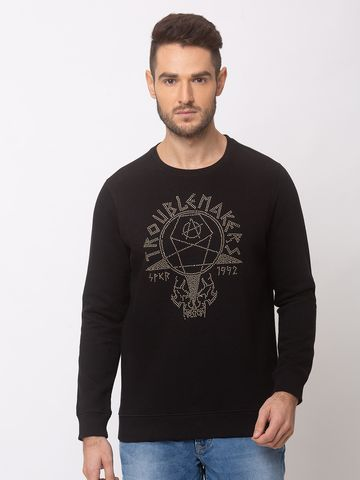 spykar | SPYKAR Black BLENDED SLIM FIT SWEAT SHIRT
